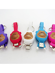 Monkey Key Ring Mutil-funtional Mini Data Cable for IPhone5 IPhone5S,IPhone5C, and Smartphone with Micro USB  Port