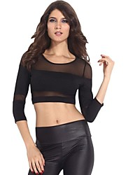 Women's Black Mesh 3/4 Sleeves Cropped Party Club Top
