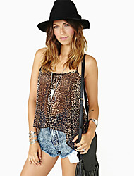 Abigail Strap Leopard Fashion Fitted Chiffon Shirt