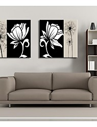 Personalized Canvas Print Black And White Flowers 30x30cm  40x40cm  60x60cm  Gallery Wrapped Art Set of 2