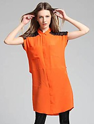 100% camisas de seda longos e vestido das mulheres Jianzi