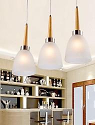 bar carvalho luminária, três luzes, carvalho e vidro, 220 ~ 240V (hy083)