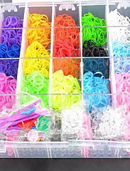 3200pcs Rainbow Color Loom Style Fashion Loom Set 21 Assorted Color Bands, 1 Weaver, 6 Hooks