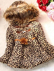 Girl's Winter Leopard Fur Hooded Coats