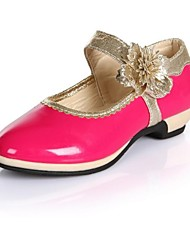 Girls' Shoes Dress / Casual Leatherette Flats Spring / Summer / Fall Mary Jane / Round Toe / Closed Toe Low Heel Satin FlowerBlack / Pink