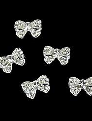 10pcs Silber bowknot Strass-Legierung Fingernagel Zubehör Nagelkunstdekoration