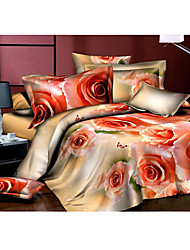 3D Love Flower Print Duvet Set