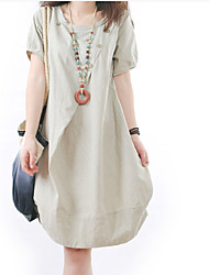 Liwei New 2014 Summer Korean Style Womens Loose Drape Round Neck Short Sleeves Casual Dress