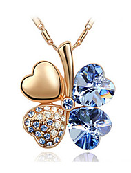 Miss V Elegant Lucky Clover Alloy With Crystal Necklace_12
