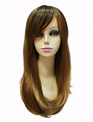 Capless High Quality Synthetic Japanese Kanekalon Synthetic Light Brown Long Straight Women Wig