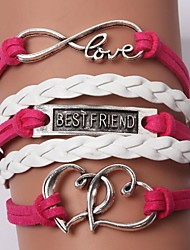 leather Charm BraceletsMultilayer Double Heart Alloy Charms Handmade Leather Bracelets inspirational bracelets Jewelry Christmas Gifts