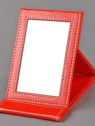 Faux Leather Folding Travel Dressing Make Up Mirror Easy Storage Standing