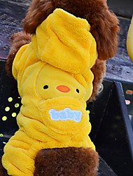 Dog Costume / Hoodie / Outfits Yellow Dog Clothes Winter Cartoon Cosplay / Halloween