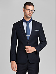 Suits Tailored Fit Slim Notch Single Breasted One-button Polyester 2 Pieces Dark Blue Straight Flapped None (Flat Front) None (Flat Front)