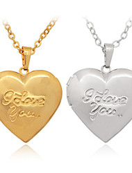 U7 I LOVE YOU Stamps Photo Locket Heart Pendant Floating Lockets 18K Real Gold Platinum Plated Necklace