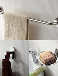 Stainless Steel 3 Piece Bathroom Accessories Set  Towel Bar and Soap Dishes and Robe Hook