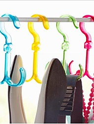 Adjustable Rotary Double Hook Design Plastic Shoes Rack & Hanger 1Pcs(Random Color)