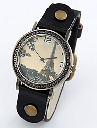 Women's Csual Metal Simplicity Wild Eiffel Tower Leather Fashion Watch