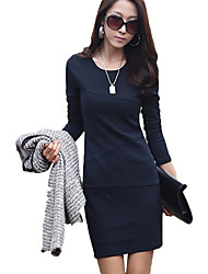Round Collar Long Sleeve Fashion Fitted Dress