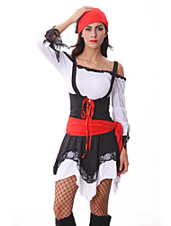 pirate attrayante robe noire et rouge Halloween costumefor carnaval des femmes