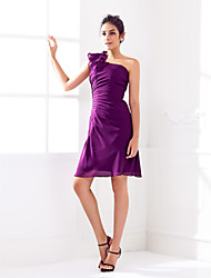 Knee-length Chiffon Bridesmaid Dress Sheath / Column One Shoulder Plus Size / Petite with Side Draping