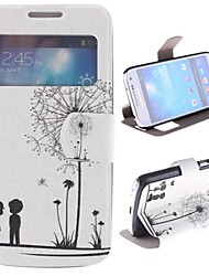 Dandelion Pattern and Lovers PU Full Body Case with Window and Stand for Samsung Galaxy S4 Mini I9190