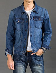 Männer neue Mode Einreiher Umlegekragen Jeansjacke