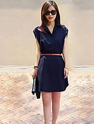 bali moda manga curta cor sólida v vestido balanço pescoço silm