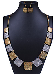 Square Bronze Alloy (Necklaces&Earrings) Vintage Jewelry Sets