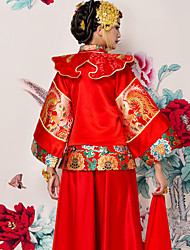 Sheath / Column Wedding Dress Vintage Inspired Floor Length High Neck with Embroidered