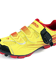 SANTIC Men's Athletic Professional MTB Mountian Bike Cycling Locking Shoes - Yellow + Red