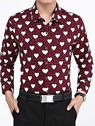 Men's Heart-Shaped Mercerized Cotton Joint Printing Long Sleeved Shirt