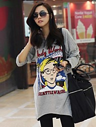 Women's Round Neck Casual Fashion Solid Color Glasses Print Irregular Cotton Long Sleeves T-Shirt