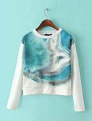 Women's Organza Stitching Contrast Color Shading Sweatshirts