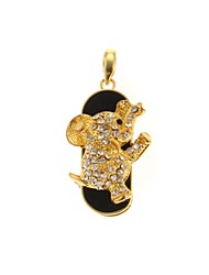ZP 32GB Diamond Golden Elephant Pattern Bling Diamond Metal Style USB Flash Drive