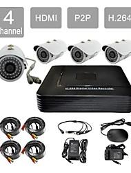 4x800tvl hdmi p2p 4 canaux de 881cd04v de système de caméra de sécurité kit h.264 dvr IR de dôme de vidéosurveillance