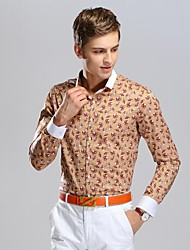 Men's Floret Printing Business Long Sleeved Shirt