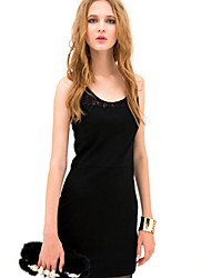 Women's Round Neck Cut Out Splice Lace Dress