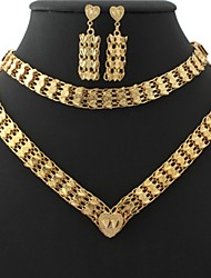 U7 Vintage 18K Chunky Yellow Gold Plated Choker Necklace Bracelet Earrings Set 18Inches 46CM