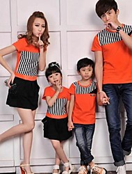 Family's Fashion Joker Leisure Parent Child Stripe T Shirt And Dress