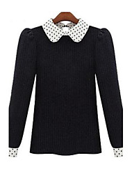 Women's Doll Collar Sweet Diamonade Knit Thick Slim Casual Fashion Long Sleeves Sweater
