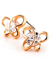 Brass With Cubic Zirconia Stud Earrings