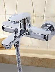 HPB™ Contemporary Chrome Finish Single Handle Two Holes Bathtub Faucet