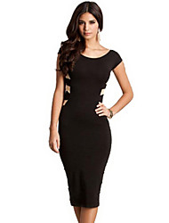 Round Neck Sexy Backless Hip Package Middle Long Dress