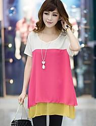 XinYuanGe® Women's Round Collar Big Size Patchwork Chiffon Slim Short Sleeve Tops Shirts