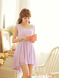 YPY Round Collar Sleevless Purple Beads Fashion Dress