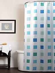 griglia blu tenda della doccia poliestere