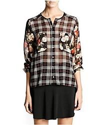 Women's Round Collar Pocket Printing Double Sleeve Grid Chiffon Shirt