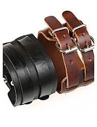 pulseira dupla unisex retro fivela grande de couro