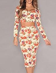 Women's Cream Multicolored Floral Skirt Set (Blouse & Pants)